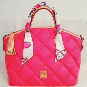 Dooney & Bourke Quilted Satchel Tote Bag Pink Tan